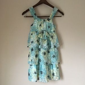 Floral Tiered Ruffle Bow Dress